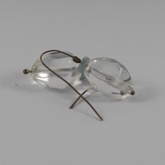 quartz tumbles and aqua jewelry earrings