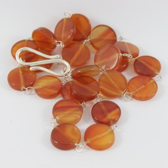 natural carnelian coin bead jewelry necklace