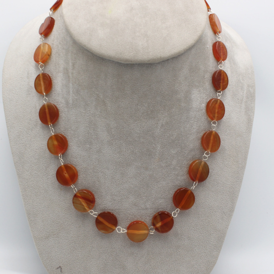 natural African carnelian coin beads necklace