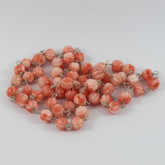 coral necklace carved flowers