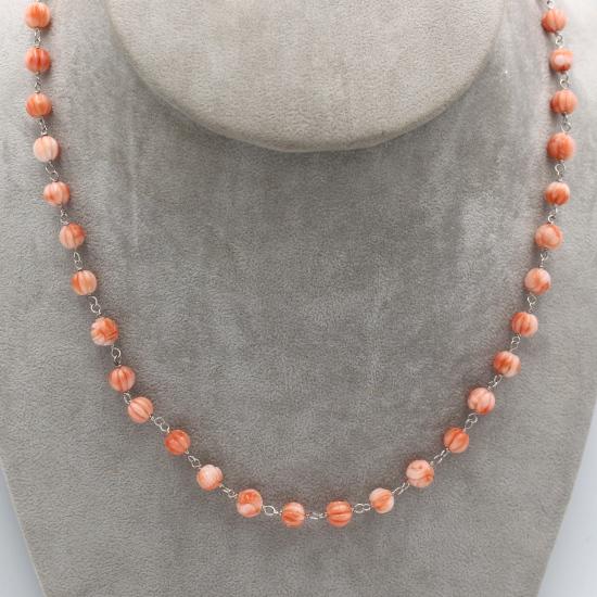 natural carved coral rose necklace