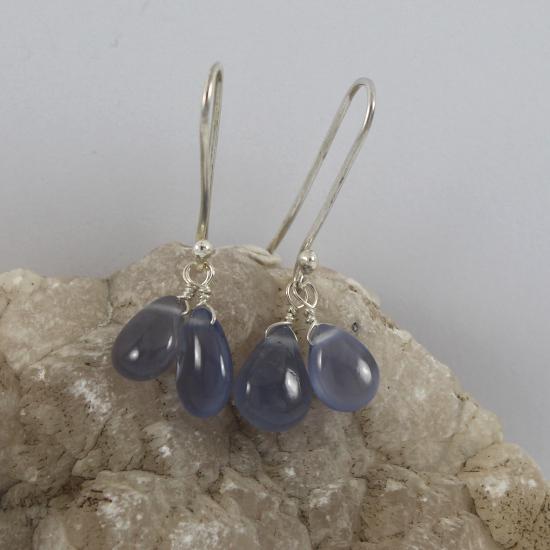 blue chalcedony beads earrings with silver hooks handmade