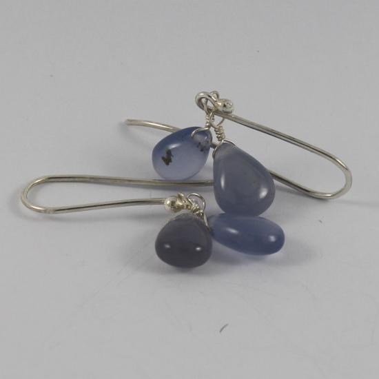 double blue chalcedony jewelry earrings