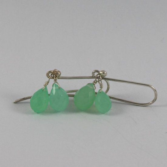 chrysoprase beads drop earrings with silver hooks