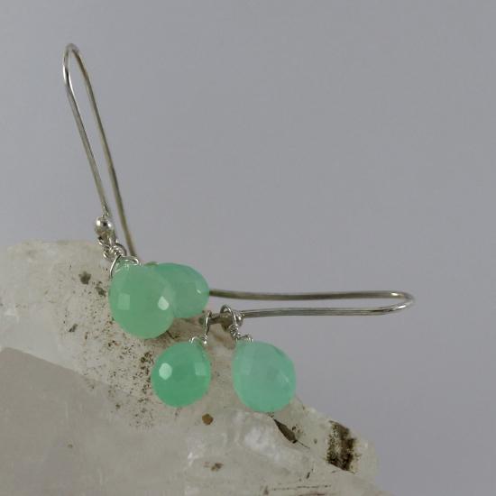 natural Australian chrysoprase briolette drop earrings