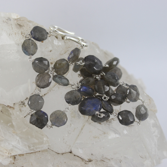 natural labradorite faceted beads necklace jewelry