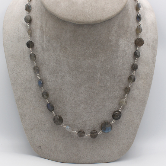 faceted labradorite mani coin beads jewelry necklace