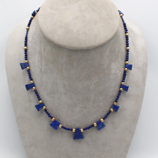 Afghanistan natural lapis lazuli bead and wedge gemstone necklace with gold spacers
