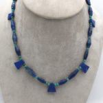 Afghanistan natural lapis lazuli beaded necklace with natural green turquoise beads