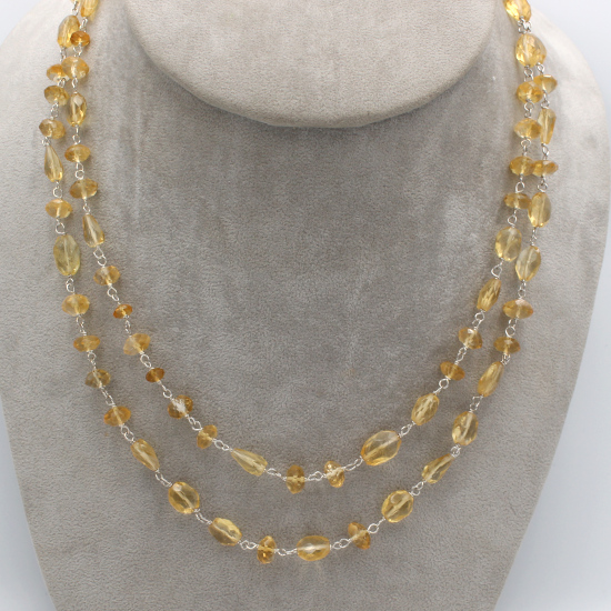 citrine faceted mani briolette beads necklace