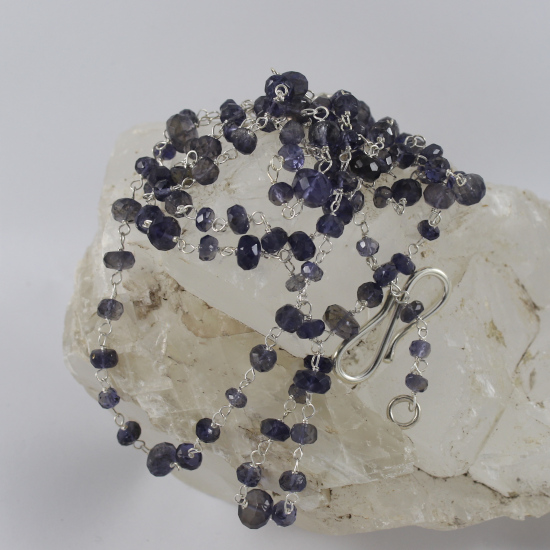 long elegant faceted iolite necklace jewelry with silver s-clasp