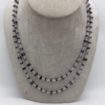 long faceted iolite beads in silver string necklace