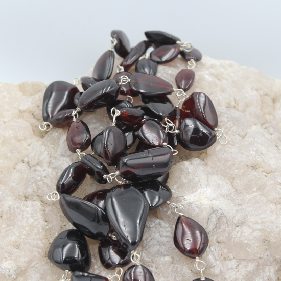 tumbled Mozambique garnet beads necklace jewelry