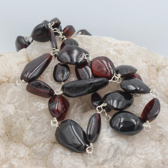 natural Mozambique garnet tumbles necklace jewellery