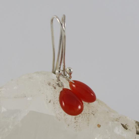 carnelian natural drop beads earrings