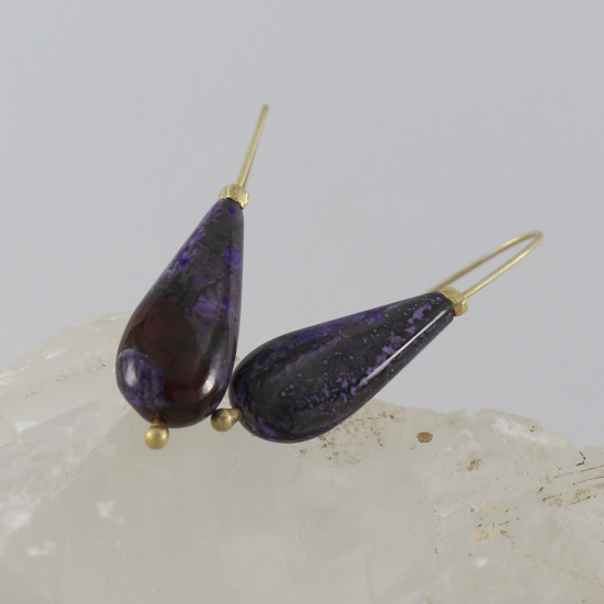 natural gelly sugilite earrings with gold hooks