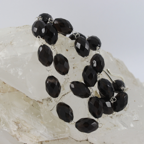 natural facet smoky briolette bead necklace with silver