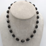 natural smoky quartz faceted briolette necklace with silver stringing