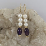 pearl shimmer earrings with amethyst and gold spacers