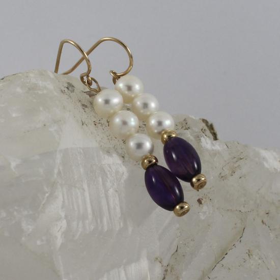 elegant pearl and amethyst earrings in gold
