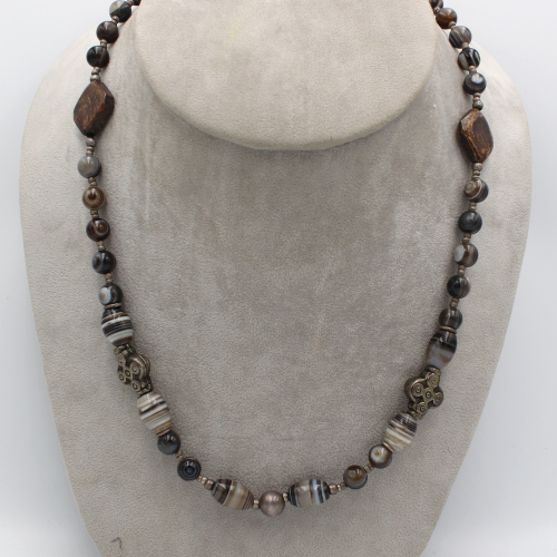 African silver cross beads and Botswana agate beads necklace