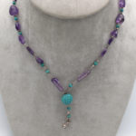 carved turquoise and amethyst jewelry necklace