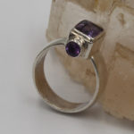 hand made amethyst three stone silver ring