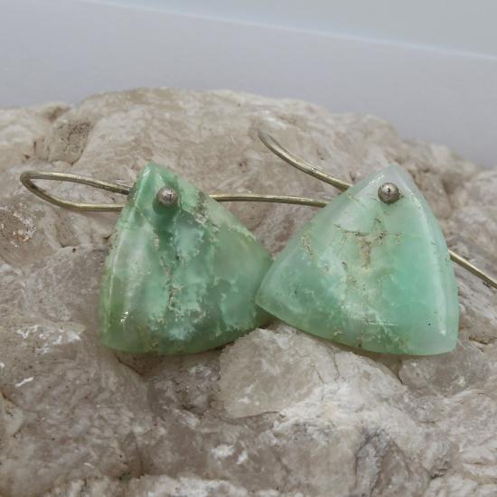 natural Australian chrysoprase triangle earring jewelry