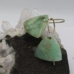 Australian chrysoprase trillion earrings on shepherds hooks