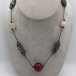 necklace jewelry jewellery with antique Afghan serpentine and agate and carnelian sphere