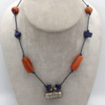 antique carnelian jewellery necklace with lapis lazuli unique