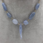 natural blue chalcedony jewelry with fish carving and silver spacer