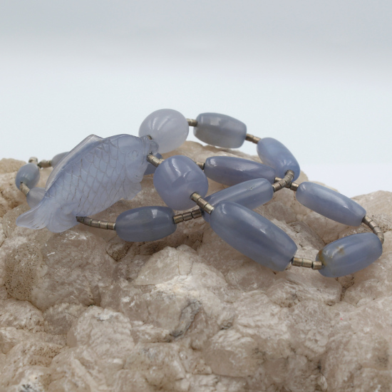 natural blue chalcedony barrel beads with silver spacers and fish carving