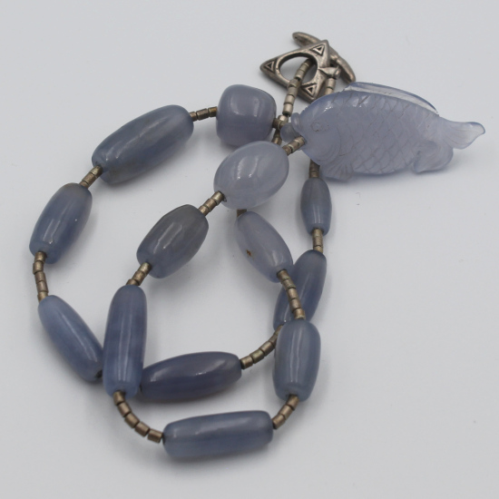 natural blue chalcedony fish carving pendant necklace with barrels