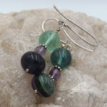 natural fluorite earrings with silver shepherd hooks and spacers