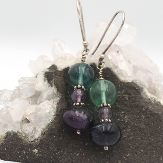 natural fluorite sphere earrings