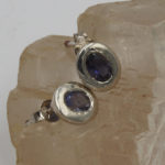 5x7mm faceted iolite gem silver stud earring jewelry