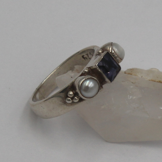 cultured pearl and iolite natural silver ring