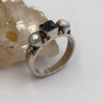 square facet iolite and pearl silver jewelry ring