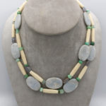 unique cow bone necklace with blue chalcedony beads