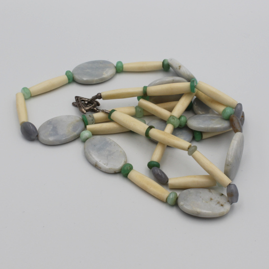 natural blue chalcedony gemstone necklace with African cow bone