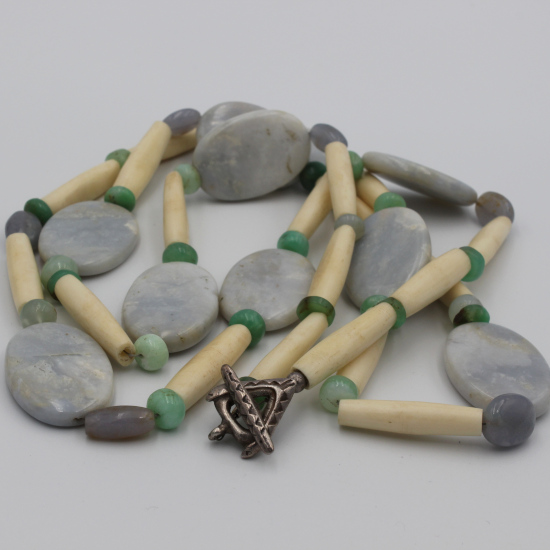 Africa cow bone necklace with natural blue chalcedony discs and chrysoprase beads
