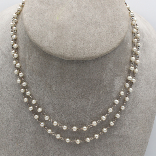 cultured pearl necklace with silver wire stringing