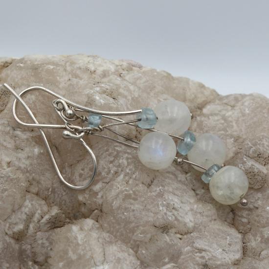 natural aqua gemstone jewelry earrings with rainbow moonstone beads