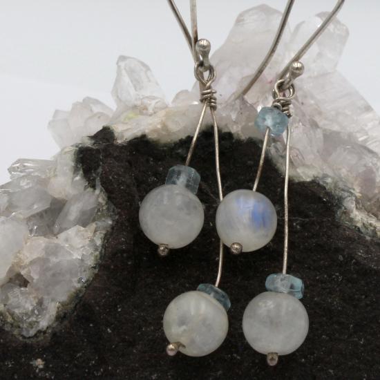 natural moonstone and aquamarine earrings