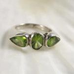 silver jewelry ring peridot gemstone