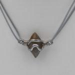 natural Sri Lanka river tumble crystal in chrome and cobalt pendant