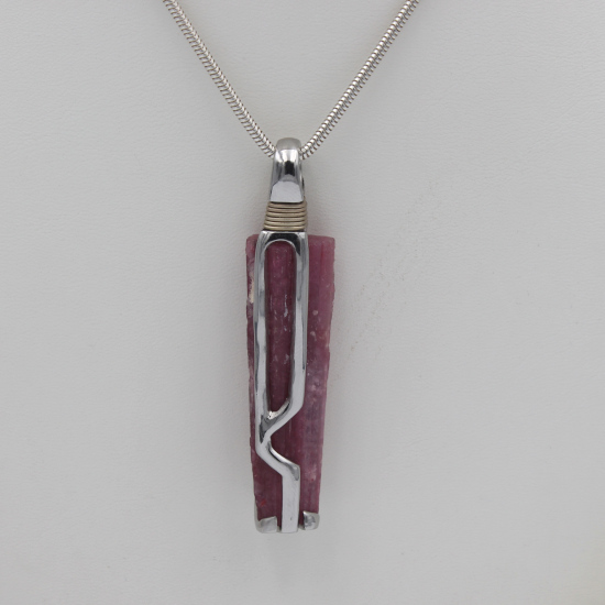 tourmaline crystal pendant in chrome and cobalt alloy