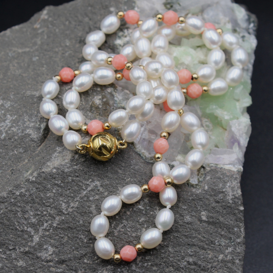 creamy white 5mm cultured potato pearls with angel skin coral beads necklace