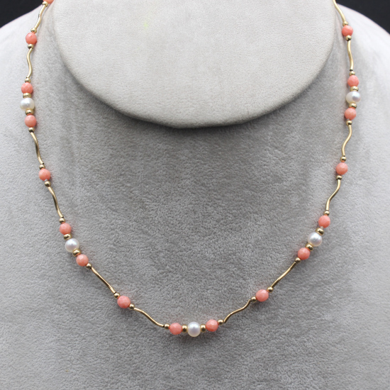 faceted angel-skin coral beaded necklace with 5mm cultured pearls